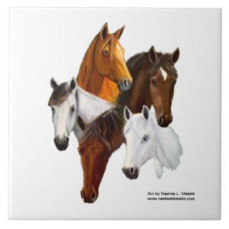 Tile, 5 Horse Heads Ceramic Tile