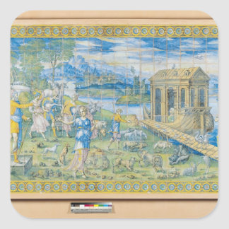 Tile depicting the Story of Noah Square Stickers