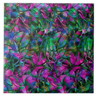 Tile Floral Abstract Stained Glass