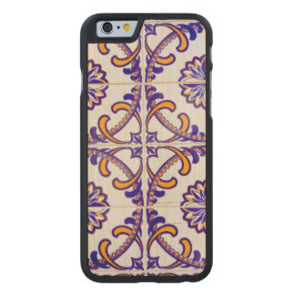 Tile pattern close-up, Portugal Carved® Maple iPhone 6 Case
