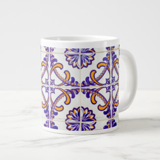 Tile pattern close-up, Portugal Large Coffee Mug