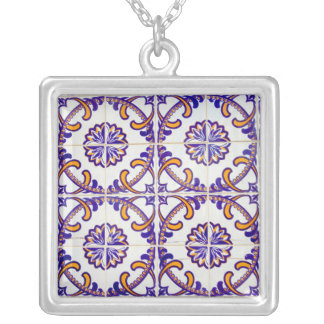 Tile pattern close-up, Portugal Silver Plated Necklace