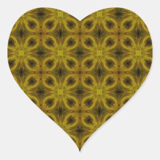 Tile Pattern in Gold Heart Sticker