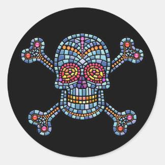 Tile Skull 1 Round Sticker