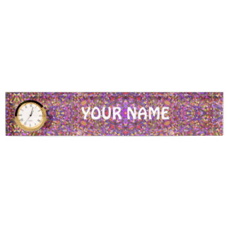 Tile Style Pattern Desk Nameplate with Clock