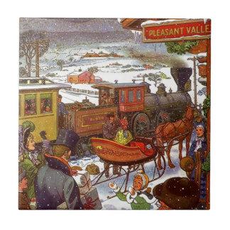 Tile Trivet Vintage Valley train Holiday Travel