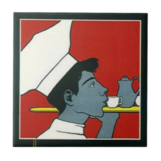 Tile Vintage Advertisement Chef Waiter Tea profile