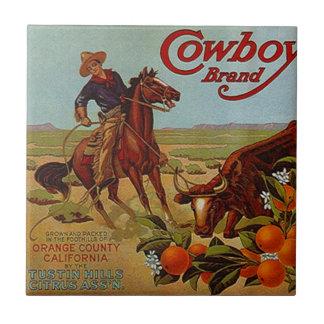 Tile Vintage Kitchen Can Label Cowboy Brand Steer