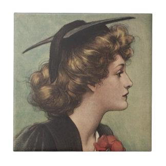 Tile Vintage Pretty Lady girl graduate profile