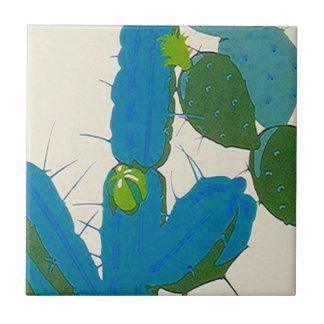 Tile Vintage Retro desert Cactus Bloom Turquoise