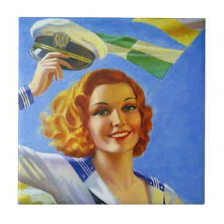 Tile vintage retro happy sailors girl lady woman