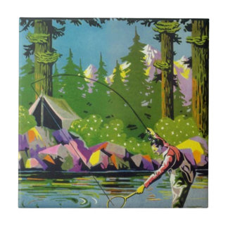 Tile Vintage River Woodland Camp Mtn Fly Fishing