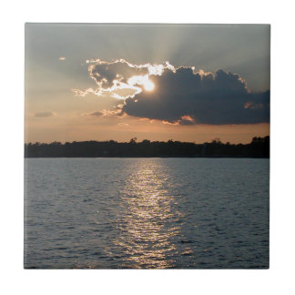 tile with photo of silver-lining sunset