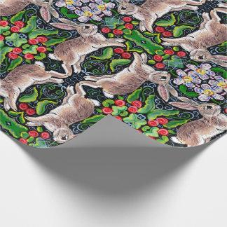 Tiled Christmas Bunny Rabbit Rose Holly Gift Wrap
