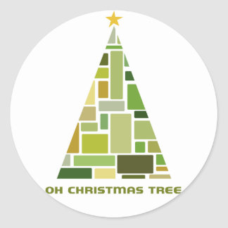 Tiled Christmas Tree Classic Round Sticker