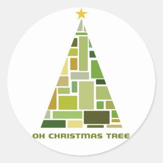Tiled Christmas Tree Round Sticker