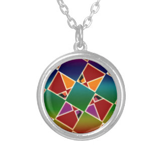 Tiled Colorful Squared Pattern Silver Plated Necklace