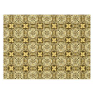 Tiled Gold Medallion Olive Leaf Yellow Tiling Tablecloth