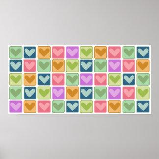 Tiled Hearts Wall Art Poster