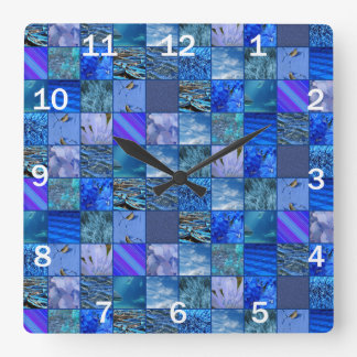 Tiled Mosaic in Blues Photography & Design Pattern Square Wall Clock