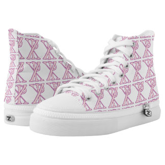 Tiled Pink Chi Ro Cross Printed Shoes