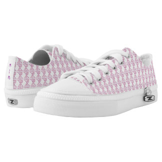 Tiled Pink Chi Ro Cross with Initials Low Tops