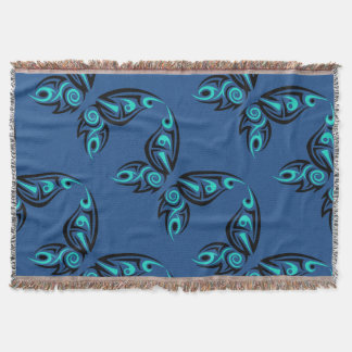 Tiled Turquoise Butterflies on Blue Throw Blanket
