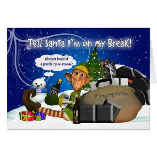 Tilers Christmas Card with Elf tilling a granite I