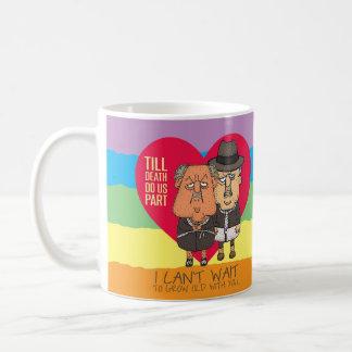 Till Death Do Us Part Pride Rainbow men Cartoon Coffee Mug