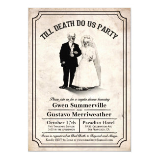 "Till Death Do Us Party Couples Shower Invitations 5"" X 7"" Invitation Card"