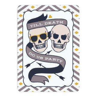 "Till Death Do Us Party - Silver Blue Wedding 5"" X 7"" Invitation Card"