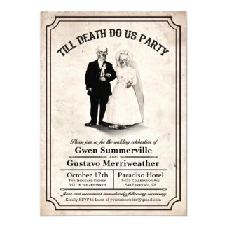 "Till Death Do Us Party Vintage Wedding Invitations 5"" X 7"" Invitation Card"
