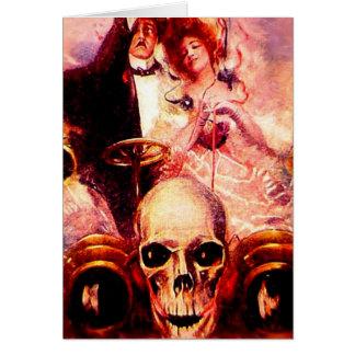 Till Death Love Skull Car Couple Romance Halloween Greeting Card
