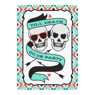 "Till Death - Turquoise and Orange Wedding 5"" X 7"" Invitation Card"