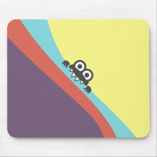 Tilted Colorful Fun Candy Biting Cartoon Bug Mouse Pad