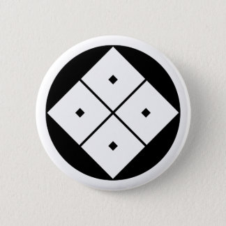 Tilted four-square-eyes in rice cake 6 cm round badge