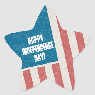 Tilted Grunge Flag Independence Day Party Star Sticker