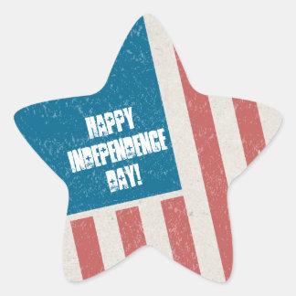Tilted Grunge Flag Independence Day Party Star Sticker