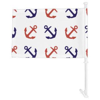 Tilted Nautical Anchor Pattern Car Flag