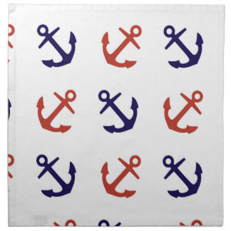 Tilted Nautical Anchor Pattern Printed Napkins