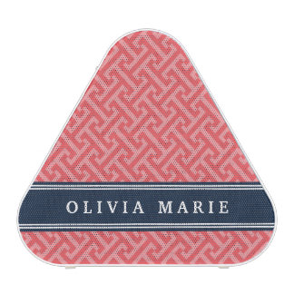 Tilted Watermelon Pink Greek Key Pattern with Name