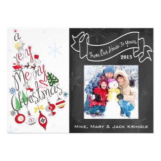 Tilted Xmas Tree Chalkboard Flat Photo Card