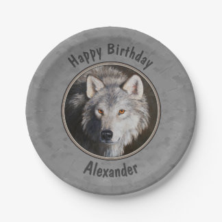 Timber Wolf Face Gray Paper Plate