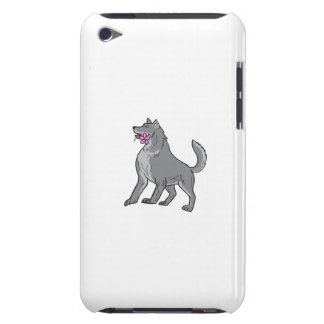 Timber Wolf Holding Plumeria Flower Drawing Barely There iPod Cover