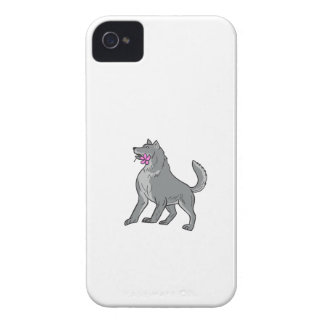 Timber Wolf Holding Plumeria Flower Drawing iPhone 4 Covers