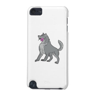 Timber Wolf Holding Plumeria Flower Drawing iPod Touch (5th Generation) Cover