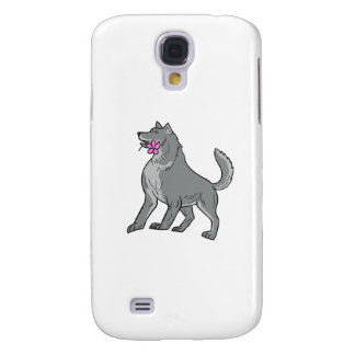 Timber Wolf Holding Plumeria Flower Drawing Samsung Galaxy S4 Cases