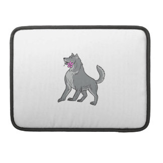 Timber Wolf Holding Plumeria Flower Drawing Sleeve For MacBooks