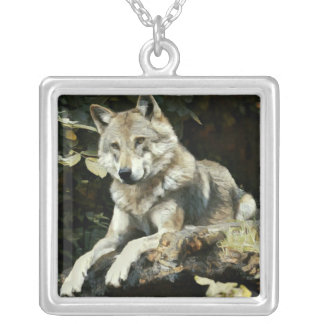 Timber Wolf Painting Silver Plated Necklace