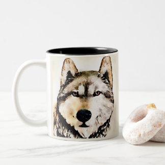 Timber Wolf Portrait Two-Tone Coffee Mug